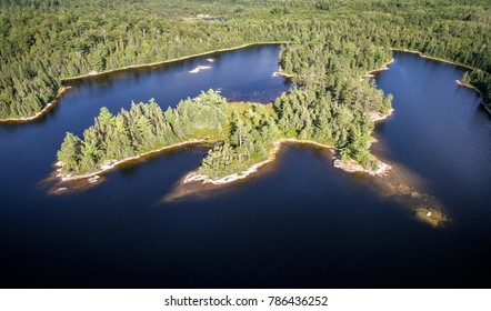 Aerial View Deep in the Northern Ontario Wilderness Lakes