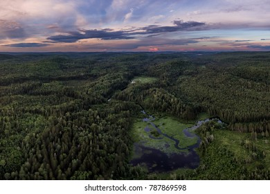 Aerial View Deep in the Northern Ontario Wilderness