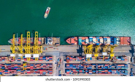 Aerial view of  Deep water port with cargo ship and container singapore