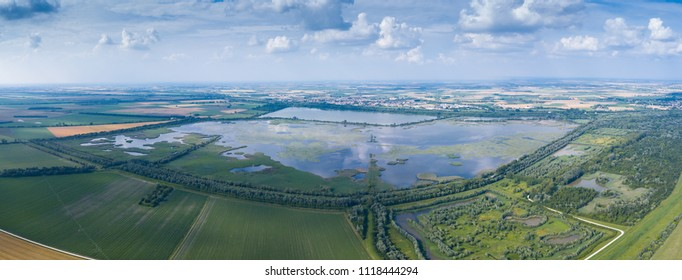Aerial view of the Delta del Po Park. Oasis of Campotto
