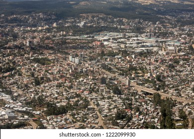 Aerial view of densely populated city of Addis Ababa, Ethiopia