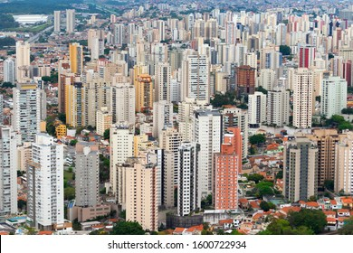 Aerial view of the densely populated Sao Paulo, Brazil with multiple residential highrises buildings. City also referred as Concrete Jungle due to its huge number and high concentration of buildings.