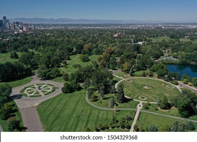 Aerial View Denver Cityscape and Park