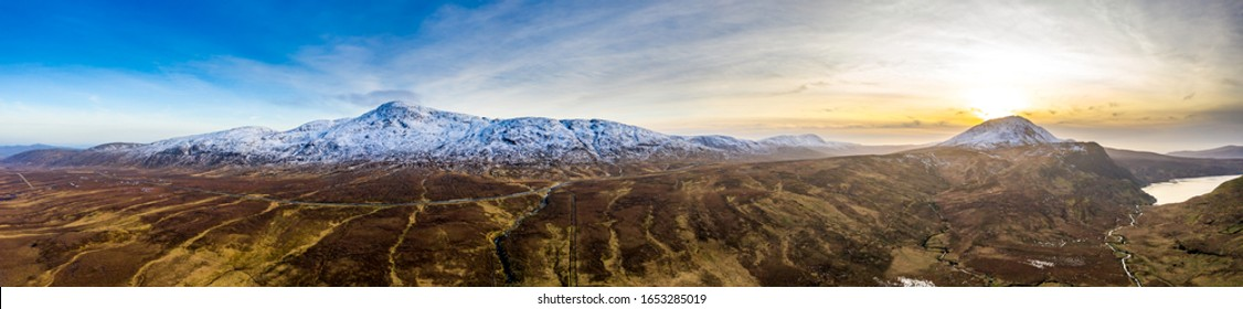 Aerial view of Derryveagh Mountains, Mount Errigal Lough Altan from South East - County Donegal, Ireland.