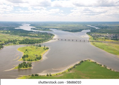 Aerial view of the Des Prairies river near Montreal.
