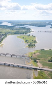 Aerial of view the Des Prairies river near Montreal