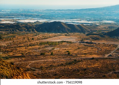 Aerial view of desert area in Almeria, from Sierra Alhamilla, Spain. Western and desert film location