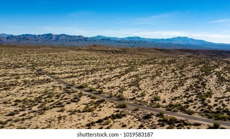 Aerial View of Desert Road In McDowell Regional Park, Near Phoenix, Arizona