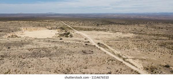 Aerial view of Desert Road near Fort Davis, TX