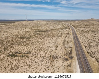 Aerial view of Desert Road near Fort Davis, TX