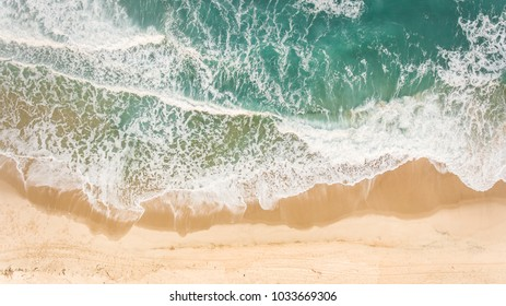 Aerial view of deserted beach and sea in Brazil.