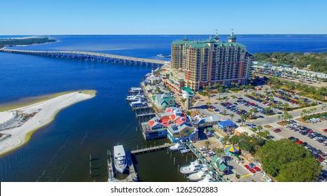 Aerial view of Destin cityscape and coastline, Florida.