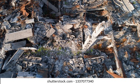 aerial view destroyed building texture