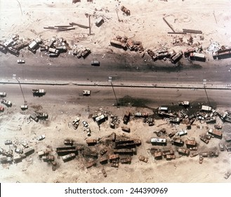 Aerial view of destroyed Iraqi vehicles beside the Highway 80 west of Kuwait City. The 'Highway of Death ' was bombed by coalition forces on February 27-28 1991.