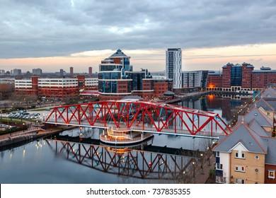 Aerial view of Detroit bridge at Salford Quays in Manchester, UK