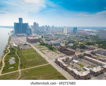 Aerial View of the Detroit Skyline