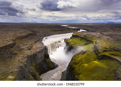 Aerial view of Dettifoss waterfall located on the Jokulsa a Fjollum river in Iceland. Dettifoss is the second most powerful waterfall in Europe after the Rhine Falls.