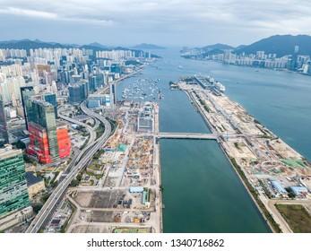 Aerial view of development of Kai Tak Airport, Kowloon Bay and Kwun Tong in Eastern Kowloon, Hong Kong