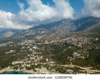 Aerial view of Dhermi and Albanian mountains in Albanian Riviera (Albania)