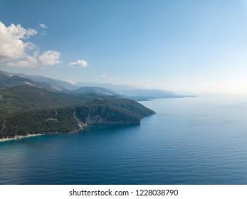 Aerial view of Dhermi beach in Albania (Himare, Vlora) Albanian Riviera