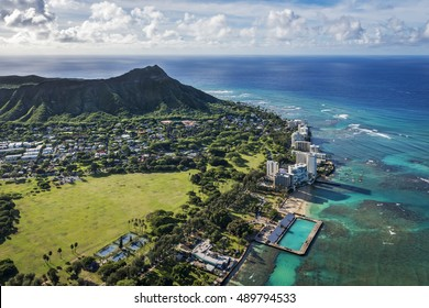 Aerial view of Diamond Head and coastline in Honolulu, Hawaii, Usa