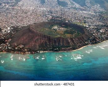 Aerial view of Diamond Head Crater, Oahu, Hawaii.