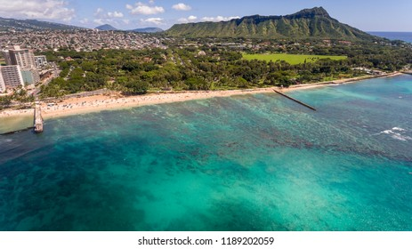 Aerial view of Diamond Head Oahu Hawaii