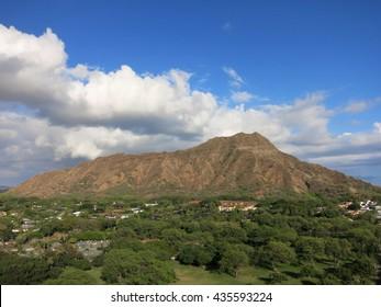 Aerial view of Diamondhead crater, Kapiolani Park, the gold coast, and surrounding neighborhood on Oahu, Hawaii.  March 2016.