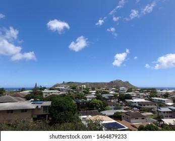 Aerial view of Diamondhead, Kaimuki, Homes, and Pacific ocean on Oahu, Hawaii.  June 2014.