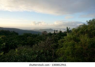 Aerial view of Diamondhead, Kapahulu, Kahala, Pacific ocean from the mountains on Oahu, Hawaii.