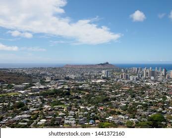Aerial view of Diamondhead, Kapahulu, Kahala, Pacific ocean on Oahu, Hawaii. June 2015.
