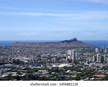 Aerial view of Diamondhead, Kapahulu, Kahala, Pacific ocean on Oahu, Hawaii. Taken on July 30, 2017.