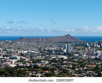 Aerial view of Diamondhead, Kapahulu, Kahala, Pacific ocean on Oahu, Hawaii.