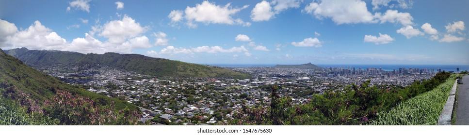 Aerial view of Diamondhead, Kapahulu, Kahala, Pacific ocean from the mountains on Oahu, Hawaii. Panoramic.