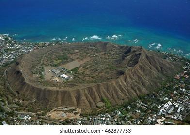 Aerial view of Diamondhead, Kapahulu, Kahala, Pacific ocean on Oahu, Hawaii. April 2016.