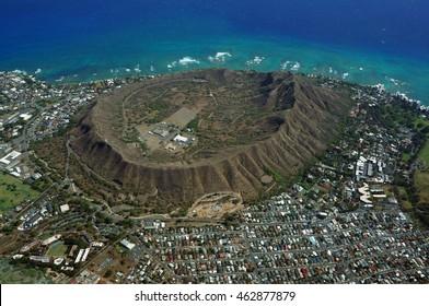 Aerial view of Diamondhead, Kapahulu, Kahala, KCC, Pacific ocean on Oahu, Hawaii. April 2016.