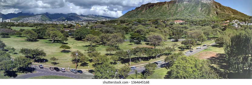 Aerial view of Diamondhead, Kapiolani Park, Kapahulu, and the gold coast on Oahu, Hawaii.  Feb 22 2019.