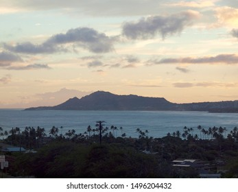 Aerial view of Diamondhead, Portlock, and Hawaii Kai on Oahu at Dusk.