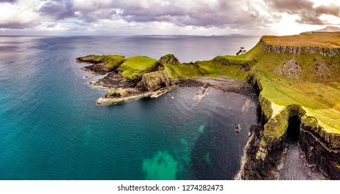 Aerial view of the Dinosaur bay with the rare Dinosaur footprint of the sauropod-dominated tracksite from Rubha nam Brathairean, Brothers Point - Isle of Skye, Scotland.