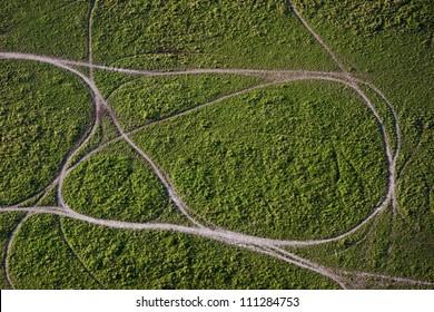 Aerial view of dirt roads