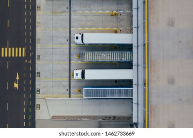 Aerial view of the distribution center, drone photography of the industrial logistic zone.