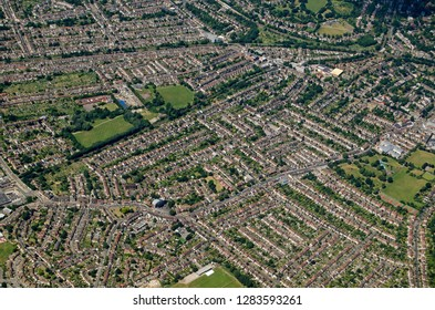 Aerial view of the district of Beckenham in the South London borough of Bromley. Viewed on a sunny summer afternoon.