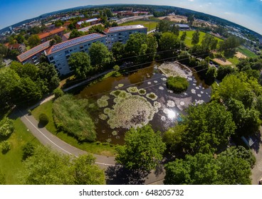 Aerial view of the district Bruck of the city of Erlangen in Bavaria, Germany