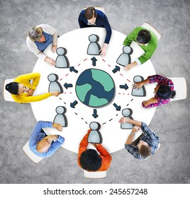 Aerial View Diverse People Working Global Connection Concepts