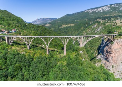 Aerial view of the Djurdjevica Bridge over the Canyon of the Tara River. Montenegro.