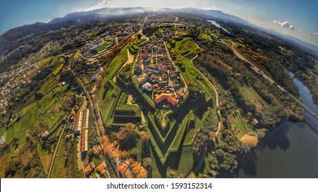 Aerial view in Valença do Minho,Portugal. Drone photo