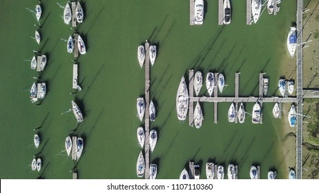 Aerial view of docked boats on river, UK