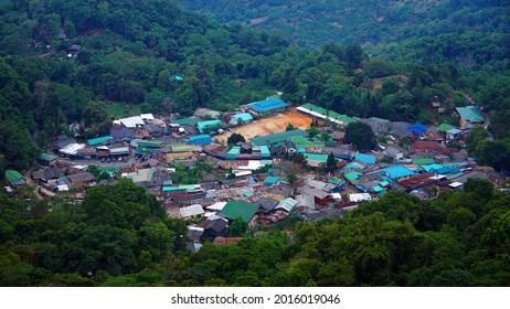 Aerial view of Doi Pui Mong Hill Tribe Village, a Hmong village on Doi Suthep - Pui mountain, Chiang Mai, Thailand