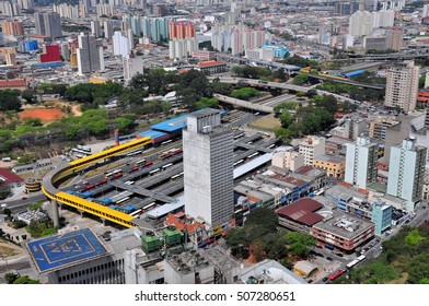 Aerial View of Dom Pedro II Bus Station, Sao Paulo, Brazil