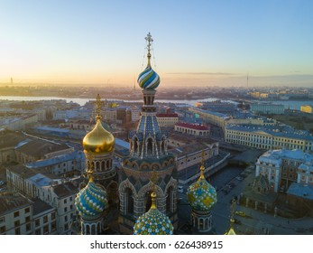 Aerial view: Dome of Church of the Savior on Blood at March on spring sunset background. Cityscape of Saint Petersburg, Russia